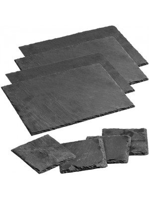 8 Pc Natural Elegant Slate Dining Table Coasters & Placemats Set