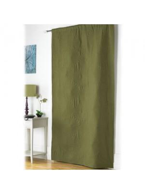 Embossed Floral Design Door Curtain Panel Enery Saving - Green