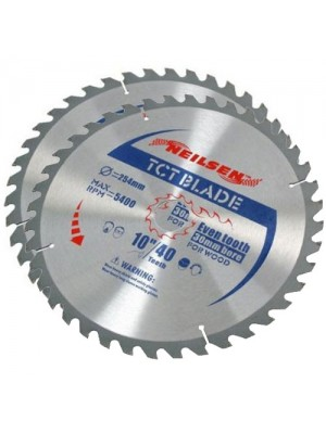 Brand New Pack of 2 TCT Circular Saw Blades 40/60 Teeth - 254mm