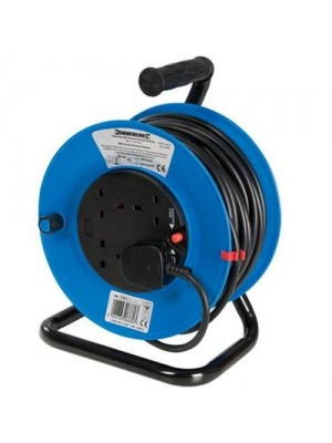 50M Mains Power Extension Cable Reel 4 Socket 240V 13A Freestand