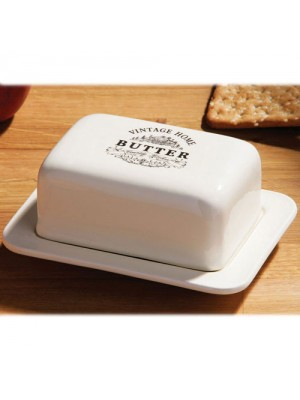 Vintage Ceramic Butter Dish Holder Tray Storage With Lid