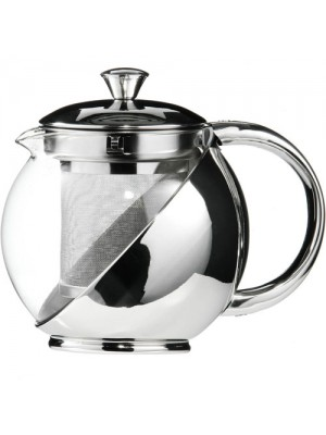 Stainless Steel Glass Faced Modern Tea Pot With Infuser 700ml