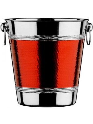 New Stainless Steel Hammered Red Band Champagne Wine Bucket
