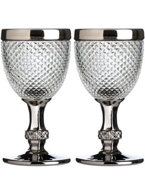 Set of 2 Style Amazing Silver Rimmed Diamond Clear Wine Glasses