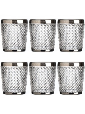 Set of 6 Style Amazing Silver Rimmed Diamond Clear Tumbler Glass