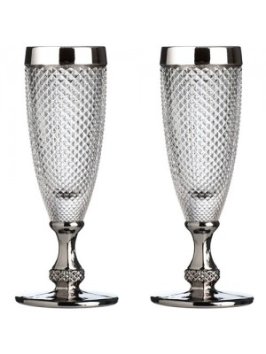 Set of 2 Style Amazing Silver Rimmed Diamond Clear Champagne Gla