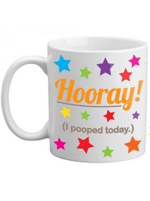 Freelogix Hooray I Pooped Today Novelty Toilet Humourn Joke Gift Mug