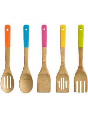 5 Piece Wooden Bamboo Kitchen Utensil Set Bright Colours