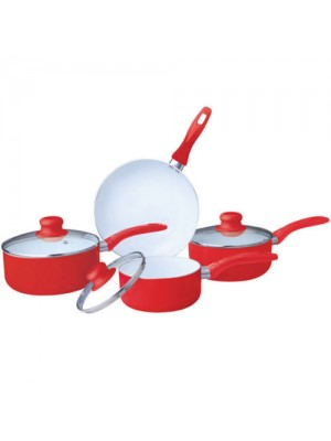 7 Piece Ceramic Cookware Set Non Stick Sauce Pan Set - Red