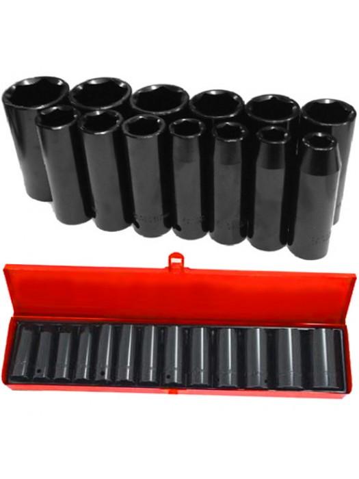 14 Piece 1/2in Socket Set W/Case Drive Deep Impact Steel