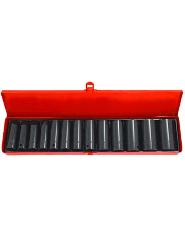 14 Piece 1/2in Socket Set W/Case Drive Deep Impact Steel