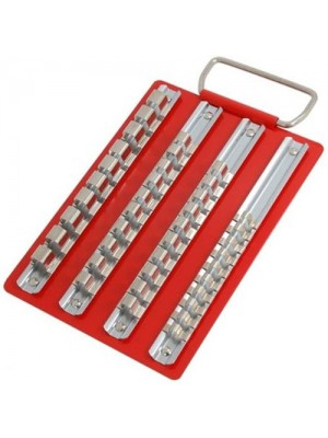 Metal Socket Tray with 1/4 3/8 & 1/2 Inch Socket Storage Rails