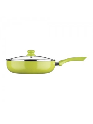 Ecocook Non Stick Frying Pan Frypan 26cm Lime With Lid