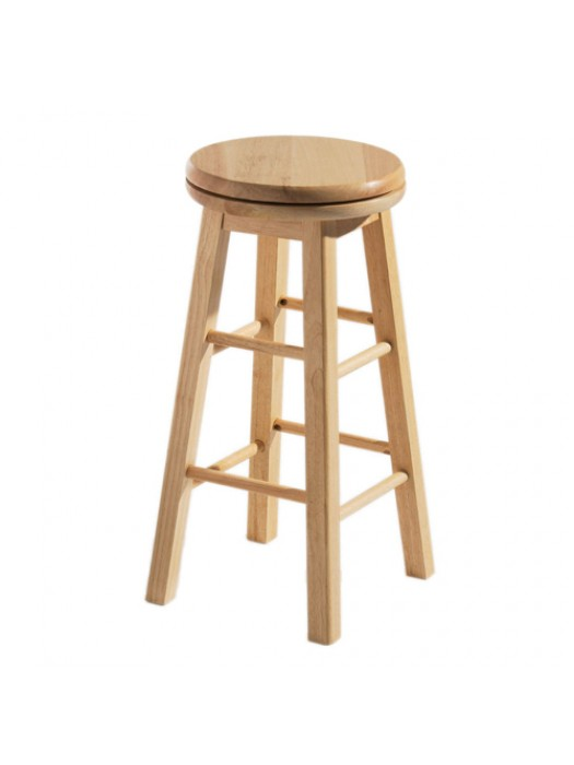 Revolving Bar Stool Breakfast Kitchen Swivel Natural Rubberwood