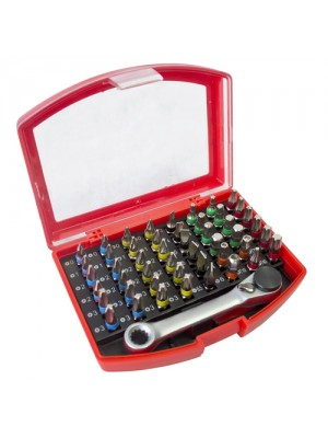 49pc Colour Coded Bit Set with Ratchet Bit Holde