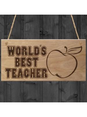 World's Best Teacher Plaque Hanging Wooden Gift