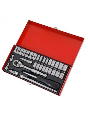 Shallow and Deep Socket Ratchet Tool 24pc 1/4 Inch Drive Set