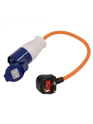 16amp Hook-Up Adaptor Lead 250V Caravan Converter Cable 3 Pin UK