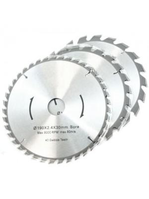 3 Pc TCT 30mm Bore Circular Saw Blades 20, 24 & 40 Teeth 190mm