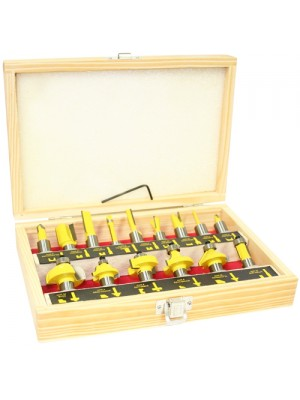 Pro 15pc 1/2inch Shank Router Bit Set in Wooden Box Case