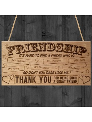 Friendship Plaque Thank You Friend Hanging Wooden Plaque Gift