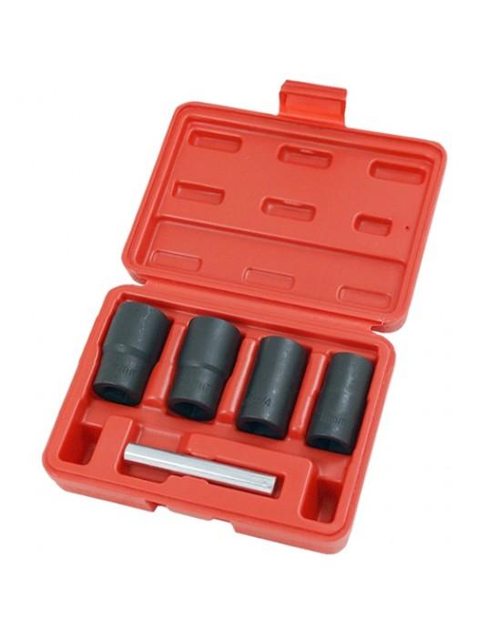 5 Piece 1/2 Inch Locking Wheel Nut Remover Set Twist Socket Set