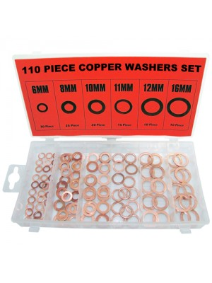 110pc Copper Washer Assortment Set Solid Sump Plug 6-16mm