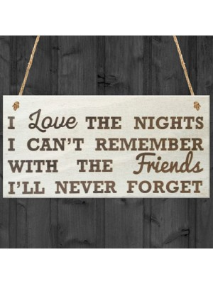 I Love The Nights I Can't Remeber Friendship Gift Plaque Sign