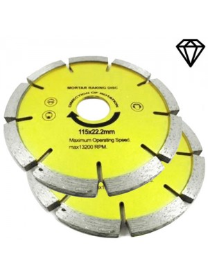 Set Of 2 115mm x 22.2mm Mortar Raking Diamond Discs (4.5 Inch)