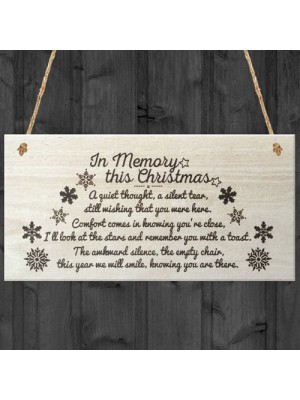 In Memory This Christmas Decoration Memorial Quote Plaque Gift
