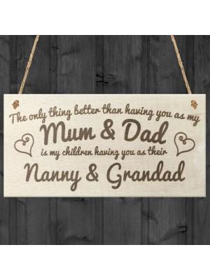 Mum Dad Nanny & Grandad Shabby Chic Plaque Gift Sign