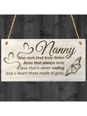 Nanny Wooden Plaque Birthday Gift Sign Present Heart Shabby Chic