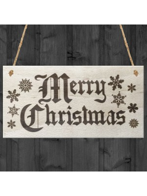 Merry Christmas Wooden Plaque Snowflake Xmas Sign Gift Present