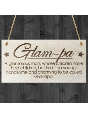 Glam-Pa Fabulous Grandpa Love Gift Wooden Hanging Plaque