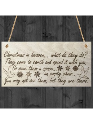 Christmas In Heaven Decoration Memorial Quote Plaque Gift