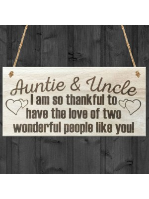 Auntie Uncle Thank You Wooden Hanging Plaque Gift Sign