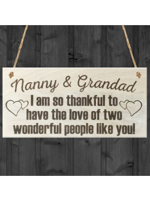 Nannys Grandad Thank You Wooden Hanging Plaque Gift Sign