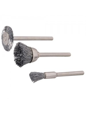 3 Piece Rotary Tool Brass Wire Brush Cleaning Polishing Set