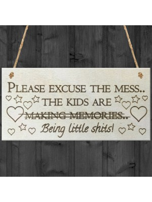 Excuse The Mess Novelty Wooden Hanging Plaque Parents Gift Sign