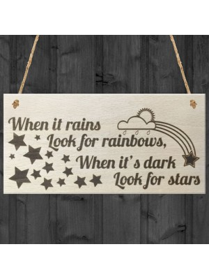 When It Rains Rainbows Stars Wooden Hanging Plaque Sign Gift