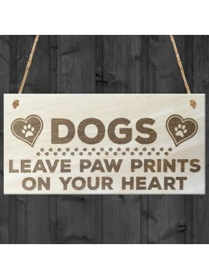 Dogs Paw Prints Hearts Wooden Hanging Plaque Dog Lovers Gift