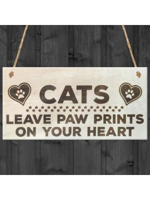 Cats Paw Prints Hearts Wooden Hanging Plaque Cat Lovers Gift
