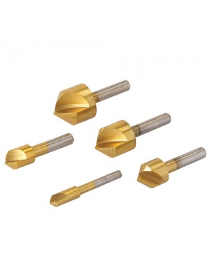 5 Piece High Carbon Steel Titanium Coated Countersinks Set