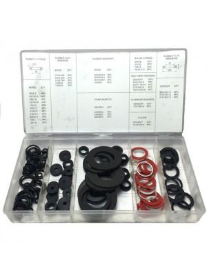 125 Pc Tap O Ring Washer Assorted E-Clip Fibre Rubber Nylon