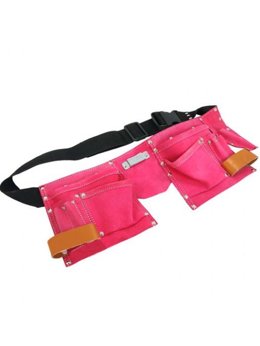 Pink Leather Tool Belt Double Pouch Ladies Fancy Dress Hen Party