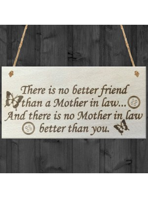 Best Mother In Law Hanging Wooden Plaque Friendship Gift Sign