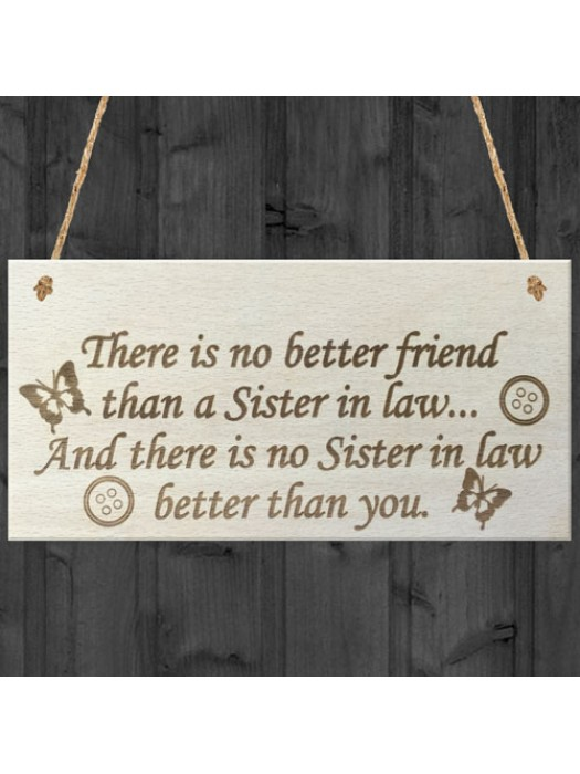 Best Sister In Law Hanging Wooden Plaque Friendship Gift Sign