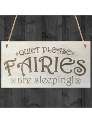 Quiet Fairies Are Sleeping Wooden Hanging Plaque Garden Sign