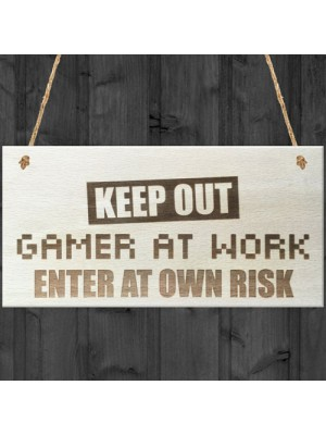 Keep Out Gamer At Work Novelty Hanging Wooden Plaque
