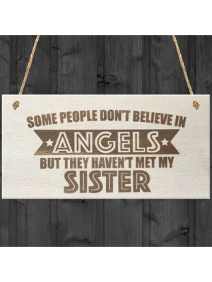 Sister Is An Angel Wooden Hanging Plaque Love Sisters Gift Sign